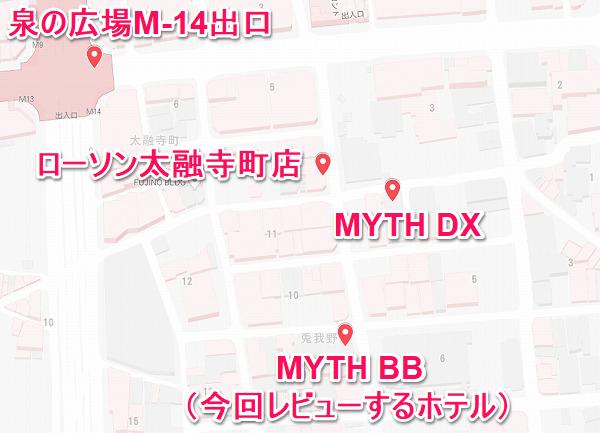 梅田のMYTHの地図